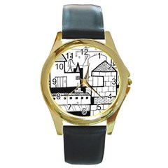 Drawing  Round Gold Metal Watch