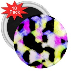 Watercolors Shapes On A Black Background                                  3  Magnet (10 Pack)