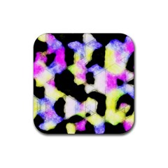 Watercolors Shapes On A Black Background                                  Rubber Square Coaster (4 Pack