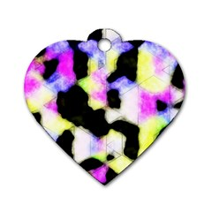 Watercolors Shapes On A Black Background                                  Dog Tag Heart (one Side)