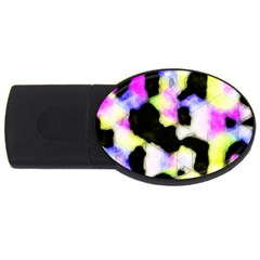 Watercolors Shapes On A Black Background                                  Usb Flash Drive Oval (4 Gb)
