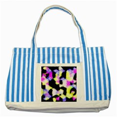 Watercolors Shapes On A Black Background                                  Striped Blue Tote Bag