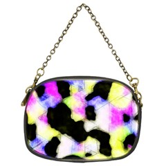 Watercolors Shapes On A Black Background                             Chain Purse (two Sides)