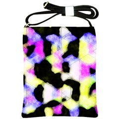 Watercolors Shapes On A Black Background                                  Shoulder Sling Bag