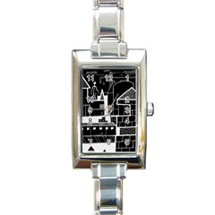 Drawing  Rectangle Italian Charm Watch