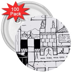 Drawing  3  Buttons (100 Pack)