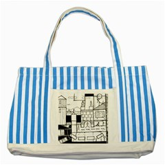 Drawing  Striped Blue Tote Bag by ValentinaDesign