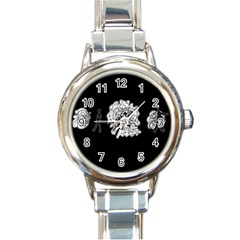 Drawing  Round Italian Charm Watch