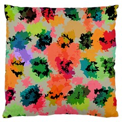 Colorful Spots                             Large Flano Cushion Case (two Sides) by LalyLauraFLM