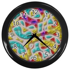 3d Shapes On A Grey Background                                   Wall Clock (black)