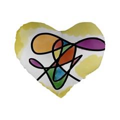 Abstract Art Colorful Standard 16  Premium Heart Shape Cushions