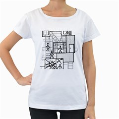 Drawing Women s Loose Fit T Shirt (white)