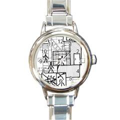 Drawing Round Italian Charm Watch
