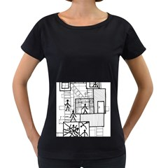 Drawing Women s Loose Fit T Shirt (black)