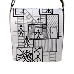 Drawing Flap Messenger Bag (l)