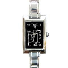 Drawing Rectangle Italian Charm Watch