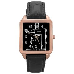 Drawing Rose Gold Leather Watch
