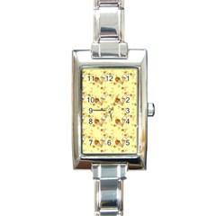 Funny Sunny Ice Cream Cone Cornet Yellow Pattern  Rectangle Italian Charm Watch