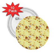 Funny Sunny Ice Cream Cone Cornet Yellow Pattern  2 25  Buttons (10 Pack)
