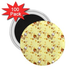 Funny Sunny Ice Cream Cone Cornet Yellow Pattern  2 25  Magnets (100 Pack)
