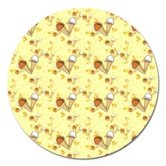 Funny Sunny Ice Cream Cone Cornet Yellow Pattern  Magnet 5  (round) by yoursparklingshop