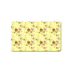 Funny Sunny Ice Cream Cone Cornet Yellow Pattern  Magnet (name Card)