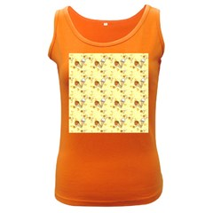 Funny Sunny Ice Cream Cone Cornet Yellow Pattern  Women s Dark Tank Top