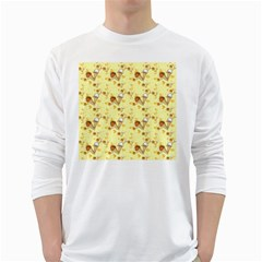 Funny Sunny Ice Cream Cone Cornet Yellow Pattern  White Long Sleeve T Shirts