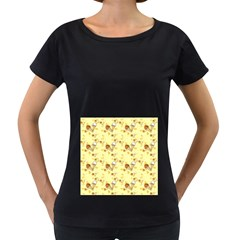Funny Sunny Ice Cream Cone Cornet Yellow Pattern  Women s Loose Fit T Shirt (black)