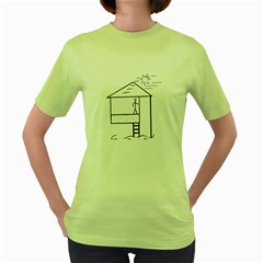 Drawing Women s Green T Shirt