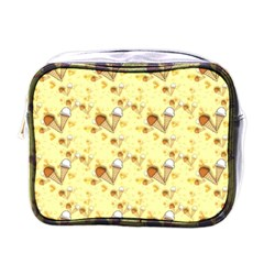 Funny Sunny Ice Cream Cone Cornet Yellow Pattern  Mini Toiletries Bags by yoursparklingshop