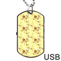 Funny Sunny Ice Cream Cone Cornet Yellow Pattern  Dog Tag Usb Flash (one Side)