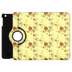 Funny Sunny Ice Cream Cone Cornet Yellow Pattern  Apple Ipad Mini Flip 360 Case by yoursparklingshop