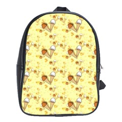 Funny Sunny Ice Cream Cone Cornet Yellow Pattern  School Bag (xl)