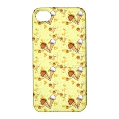 Funny Sunny Ice Cream Cone Cornet Yellow Pattern  Apple Iphone 4/4s Hardshell Case With Stand