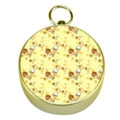 Funny Sunny Ice Cream Cone Cornet Yellow Pattern  Gold Compasses by yoursparklingshop