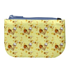 Funny Sunny Ice Cream Cone Cornet Yellow Pattern  Large Coin Purse by yoursparklingshop