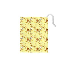 Funny Sunny Ice Cream Cone Cornet Yellow Pattern  Drawstring Pouches (xs)