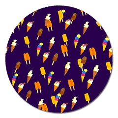 Ice Cream Cone Cornet Blue Summer Season Food Funny Pattern Magnet 5  (round)