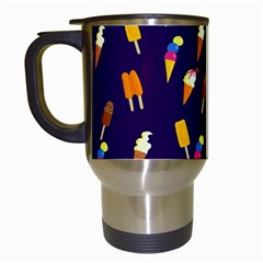 Ice Cream Cone Cornet Blue Summer Season Food Funny Pattern Travel Mugs (white)