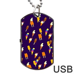 Ice Cream Cone Cornet Blue Summer Season Food Funny Pattern Dog Tag Usb Flash (two Sides)