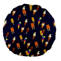 Ice Cream Cone Cornet Blue Summer Season Food Funny Pattern Large 18  Premium Round Cushions
