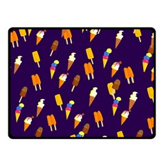 Ice Cream Cone Cornet Blue Summer Season Food Funny Pattern Double Sided Fleece Blanket (small)