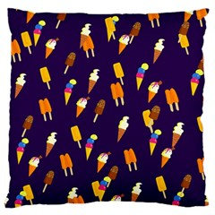 Ice Cream Cone Cornet Blue Summer Season Food Funny Pattern Large Flano Cushion Case (two Sides)