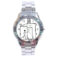 Drawing Stainless Steel Analogue Watch