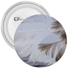 Feather Brown Gray White Natural Photography Elegant 3  Buttons
