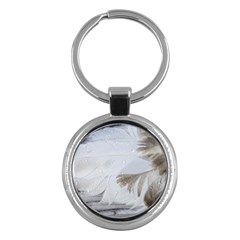 Feather Brown Gray White Natural Photography Elegant Key Chains (round)