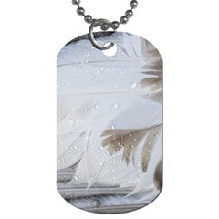 Feather Brown Gray White Natural Photography Elegant Dog Tag (two Sides)