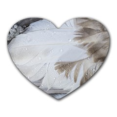 Feather Brown Gray White Natural Photography Elegant Heart Mousepads
