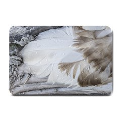 Feather Brown Gray White Natural Photography Elegant Small Doormat